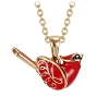 Gold Christmas Cardinal Pendant Necklace