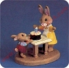 Rabbits With Cake - Tender Touches FigurineHallmark Christmas Ornament