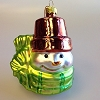 Snowmen of Mitford - Blown Glass Flowerpot Hat