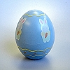 Blue Egg with Bunny holding Carrot  - Merry Miniature