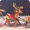 1992 Santa and Reindeer, Prancer VixenHallmark Christmas Ornament