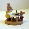 Bunnies with Birthday Cake - Mini Memories Figurine - Rare