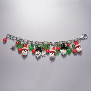 Snowman Head and Holly Leaf Bracelet