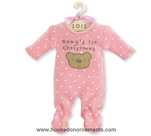 2012 Baby Girl's First Christmas, Pink Romper