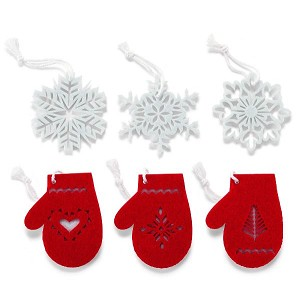 2014 Felt Snowflake And Mittens Ornaments Set