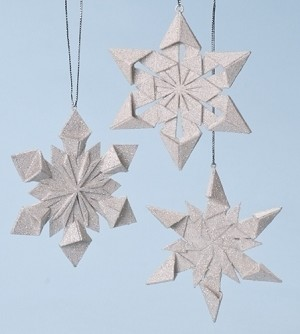 2014 Origami Snowflake Ornaments, Set of 3 - by Roman, Inc.