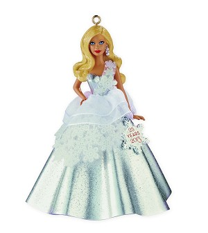 2013 Holiday Barbie by Carlton #1 - in Series with 25 Yr Snowflake Charm! - Slightly Damaged Box