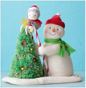2010 Tree Trimming Snowman - Plush Tabletopper - Hard to Find!