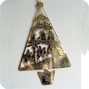 1986 Hall Family Ornament, On Card with Tear at top