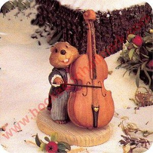 Beaver With Double Bass - Tender Touches Figurine