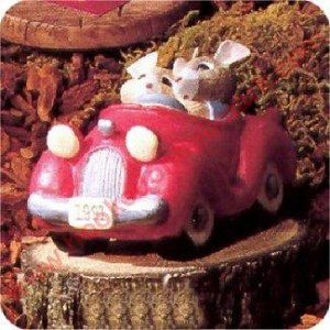Mice in Red Car - Tender Touches Figurine - RARE