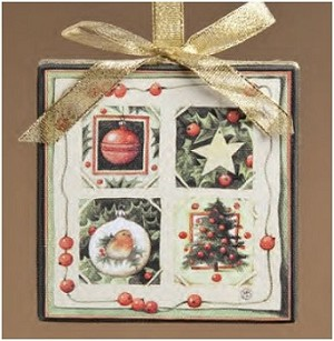 Holly Canvas Ornament