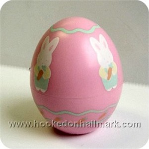 1986 Pink Egg with Bunny Holding Carrot - Merry Miniature
