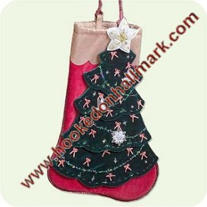 2005 Christmas Stocking Display - holds 23 mini ornaments!