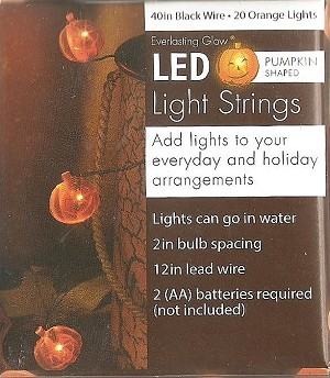 "Halloween - PUMPKIN LIGHTS - 40"" LED String - Battery Op"
