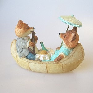 Foxes in Rowboat - Tender Touches Figurine