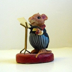 Mouse with Violin - Mini Memories Figurine - Rare