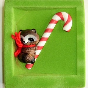 1981 Ambassador, Raccoon on Candy Cane - RARE! - NB