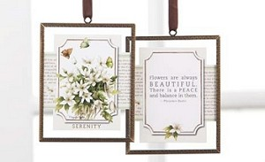 "White Flowers ""Serenity"" Glass Plaque"