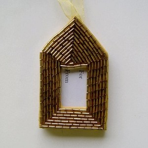 Gold Beaded Gift Tag or Frame
