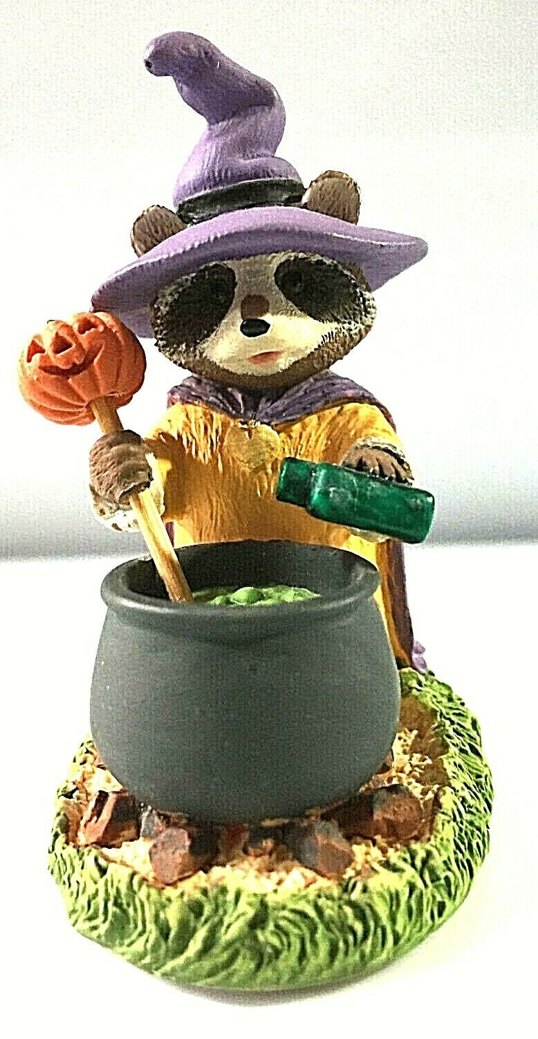 Raccoon Witch with Caldron - Tender Touches Figurine