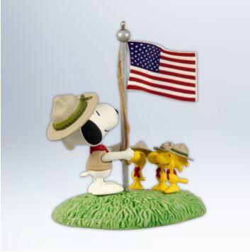 2012 Beagle Scout Salute Peanuts Hallmark Christmas Ornament