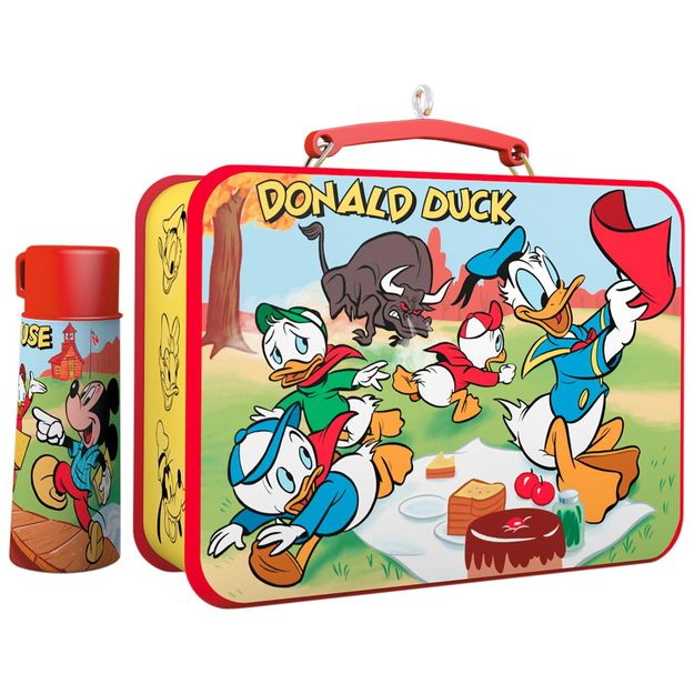 Set of 2 Hallmark Keepsake 2017 Disney Mickey and Friends Mickey Mouse Lunchbox and Thermos Christmas Ornaments