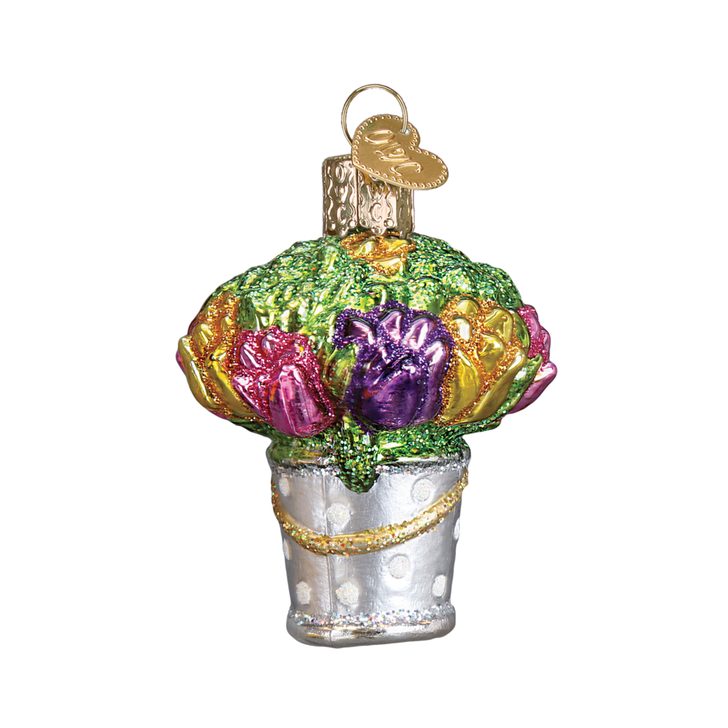 Easter Bucket of Flowers - Old World Christmas Blown Glass