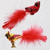 2020 Premium Cute Cardinal Couple - Blown Glass Clip-on