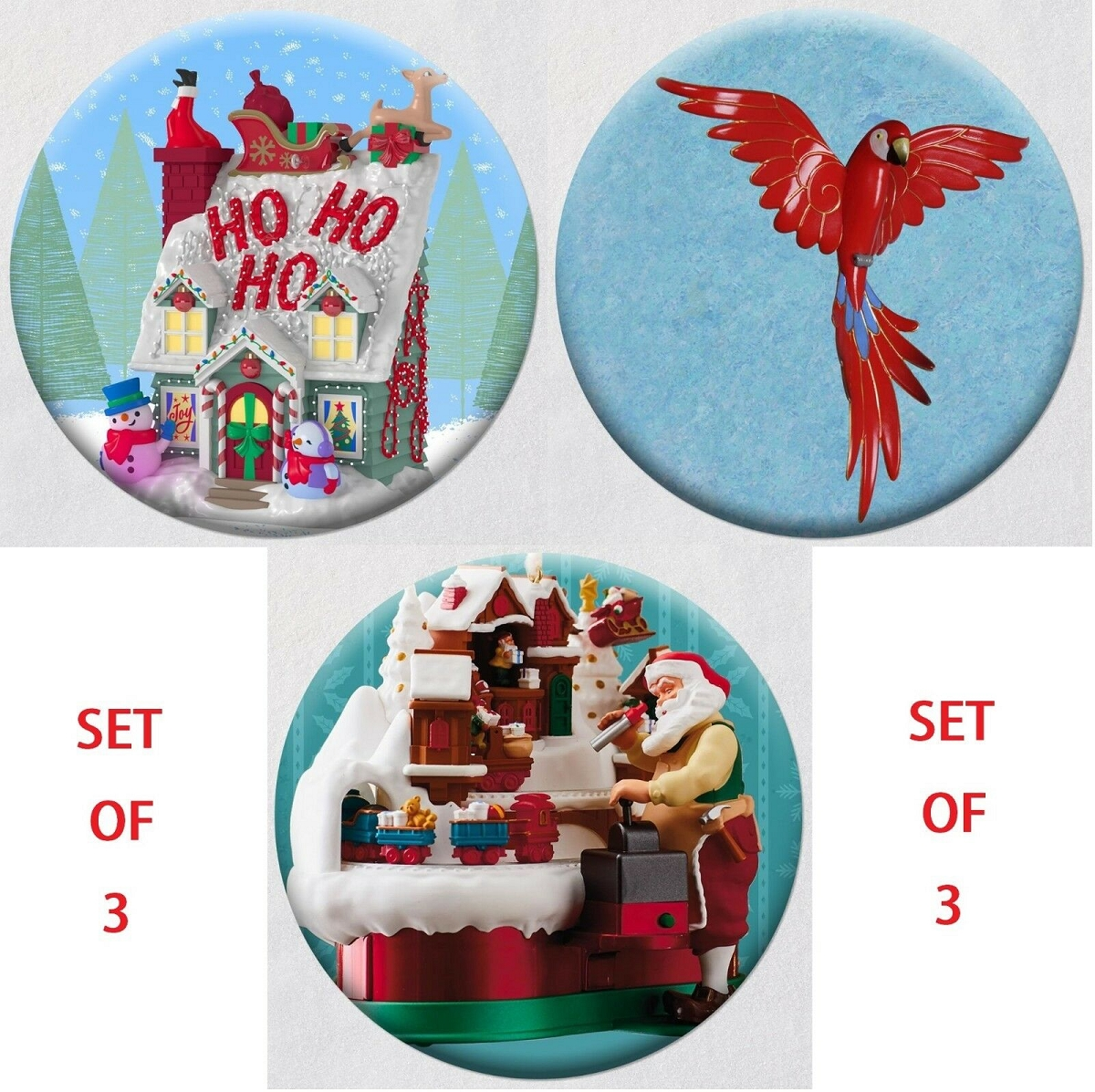 2018 Santas Magic Train, Merriest House and Pretty Parrot - set of three BUTTONS