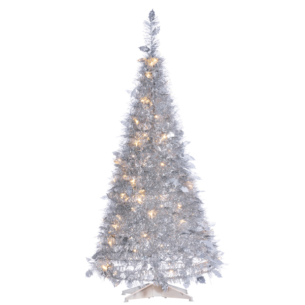 Silver Tinsel Pop Up Christmas Tree: 4' Pop Up Silver Tinsel Holly Leaves Tree At Hooked On