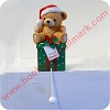 Teddy Bear with Santa Cap on Gift - Stocking Hanger