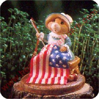 Stitching the Stars and Stripes - Tender Touches Figurine - Hard to Find!