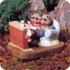 Raccoon Couple at Fireplace - Tender Touches Figurine - Hard to Find!