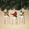 Winter Bird on Glass Bell - Set of 3 - Gerson