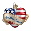 God Bless America Heart - Old World Christmas Blown Glass