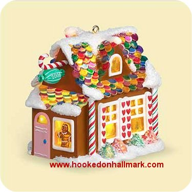 introduced in 2006 this series features a gingerbread village each ornament features a light clip for an optional lighting effect - Hallmark Christmas Village