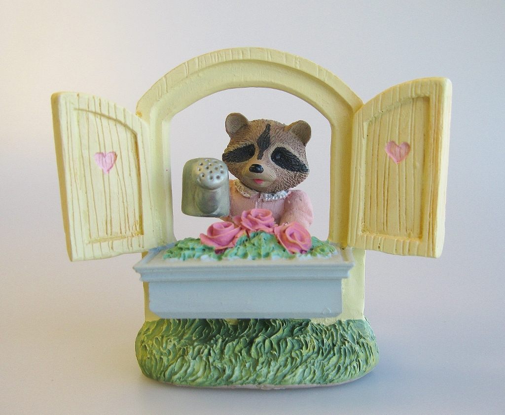 Raccoon Watering Roses - Tender Touches Figurine