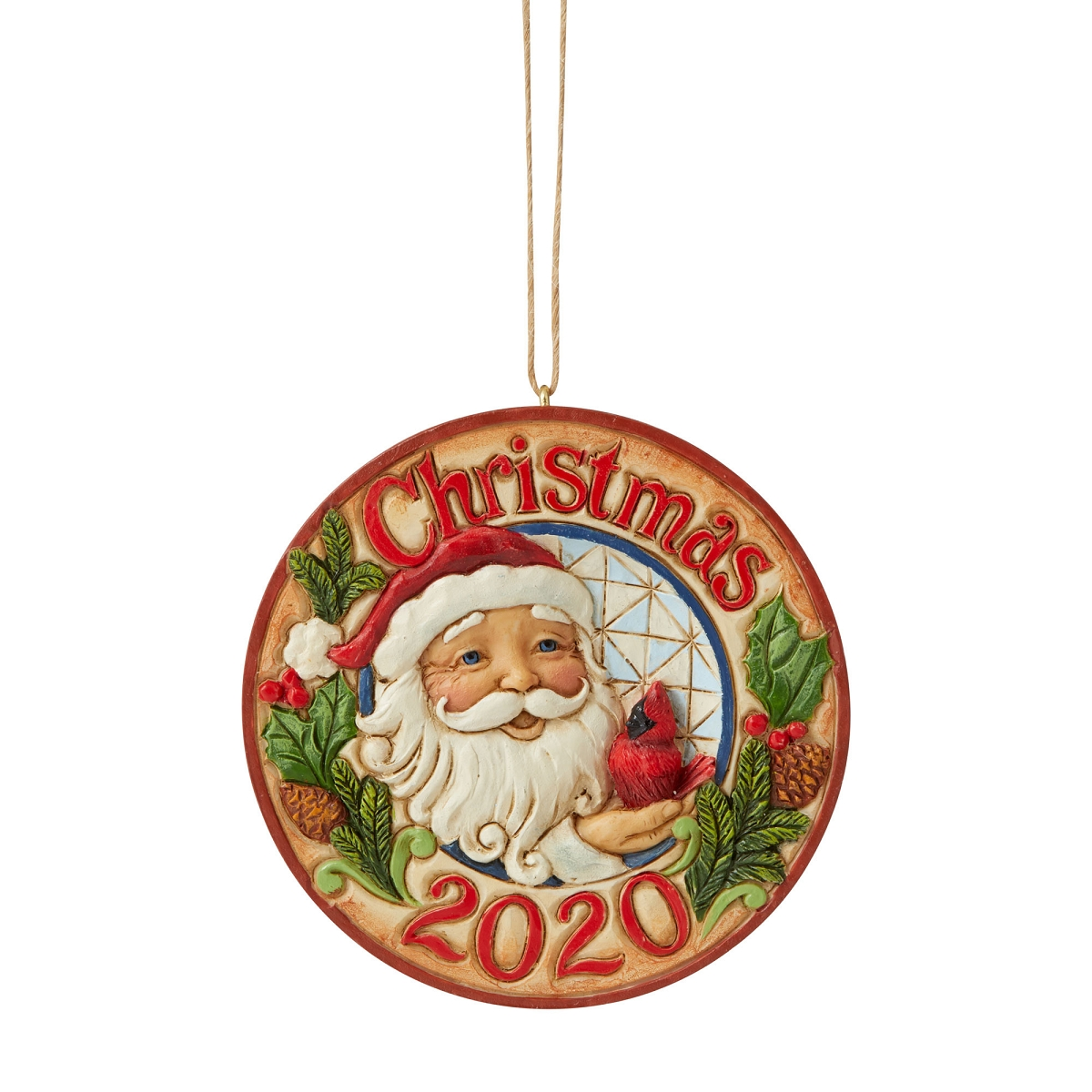 Jim Shore 2020 Christmas Ornament 2020 Santa with Cardinals Dated Jim Shore Heartwood Creek