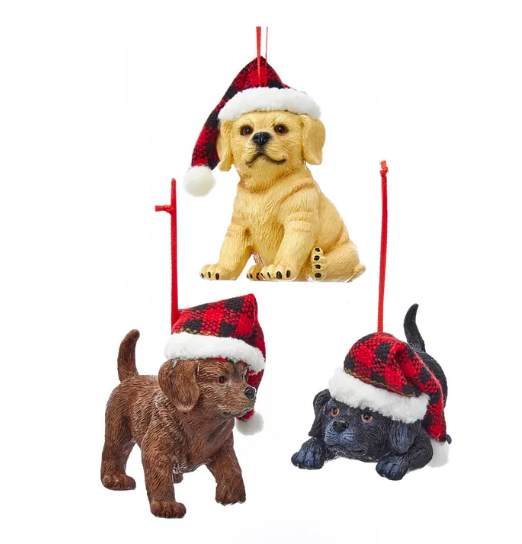 2021 Playful Puppies in Santa Hat set of 3  - By Kurt Adler
