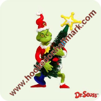 "Seuss Mint in box *2001* Hallmark GRINCH Ornament /"" GRINCHY TRICK /"" Dr"