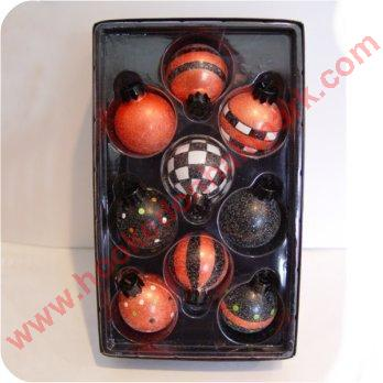 2003 Dots and Stripes Halloween Blown Glass Set - set of 8 - missing 1