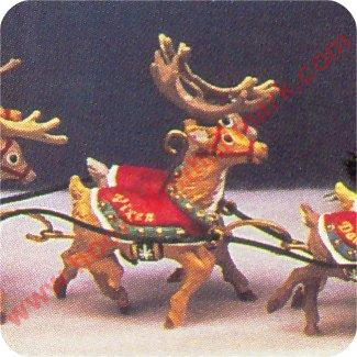 1992 Santa and Reindeer, Prancer Vixen