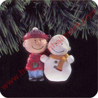 1993 Peanuts Gang #1- Charlie Brown and a self portrait snowman