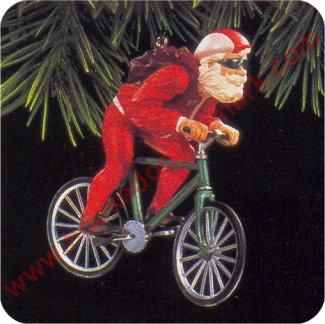 1997 Cycling Santa Hallmark Ornament