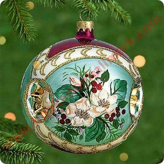 2000 Holiday Traditions 3 Blown Glass Hallmark Ornament
