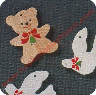 Miniature Wooden Ornaments - set of 6 doves & teddy bears