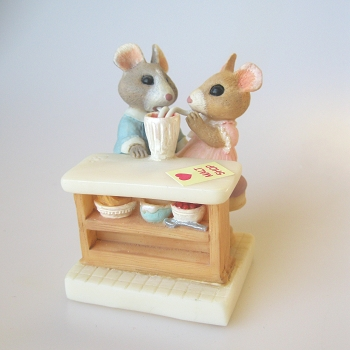 Mouse Couple Sharing Soda - Tender Touches Figurine