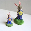Rabbit with Blue Ribbon - Mini Memories Figurine - Rare