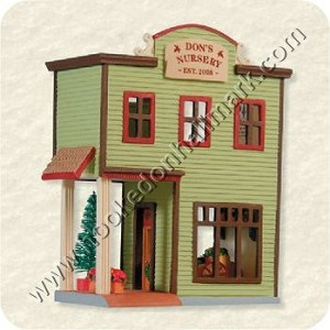 "<font face=""arial"" size=""2""><b>2008 Nostalgic Houses and Shops #25 - Don's Nursery</b><br>2008 Hallmark Keepsake Series Ornament <br><i> (Scroll down for additional details) </i> </font>"